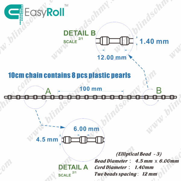 replacement chain for vertical blinds-4.5-6-12-1.4