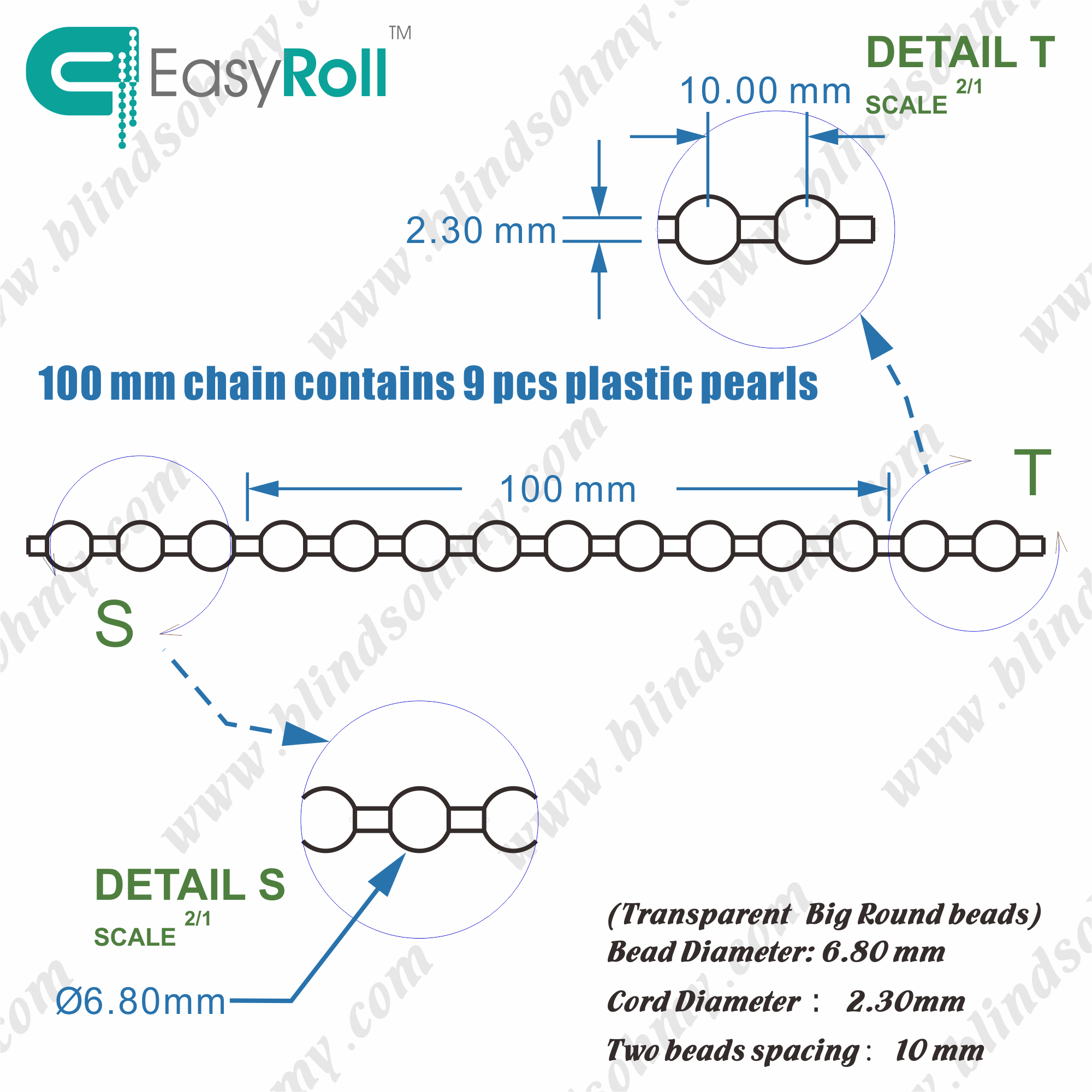 Clear Plastic Blind Bead Chain Roller Shade Kit Replacement Parts -(BC-5)