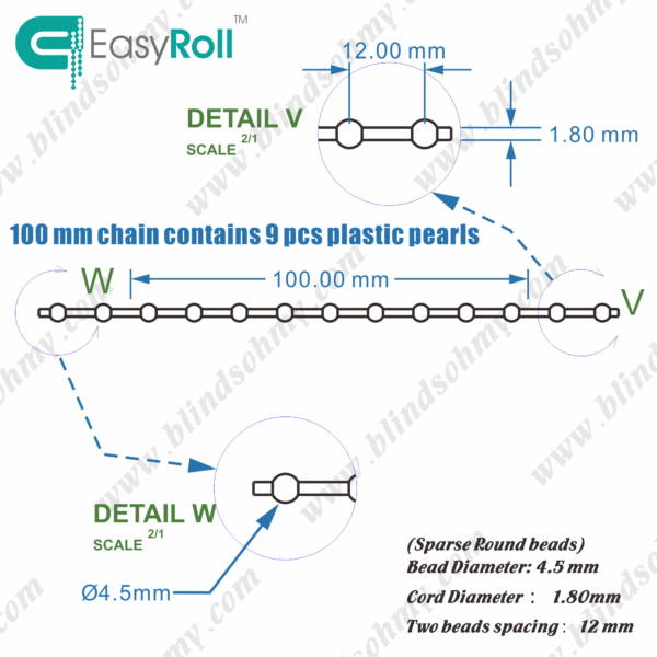 vertical blind bead chain-4.5-12