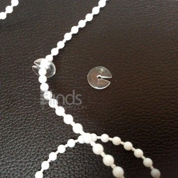 Roller blind beaded ball chain stops